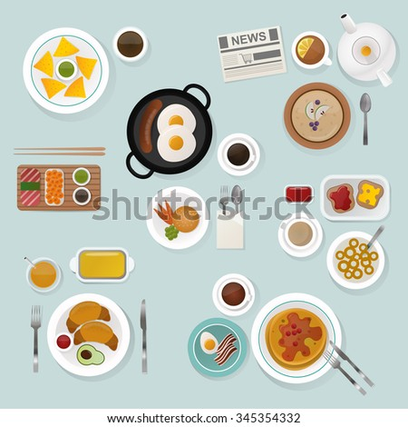 Breakfast flat top view set. Breakfast icons silhouette illustrations. Breakfast from different countries. Breakfast vector food illustration. Food and drinks. Breakfast silhouette vector. Breakfast - stock vector