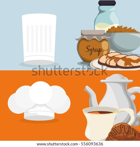 breakfast food fresh nutrition brochure vector illustration eps 10