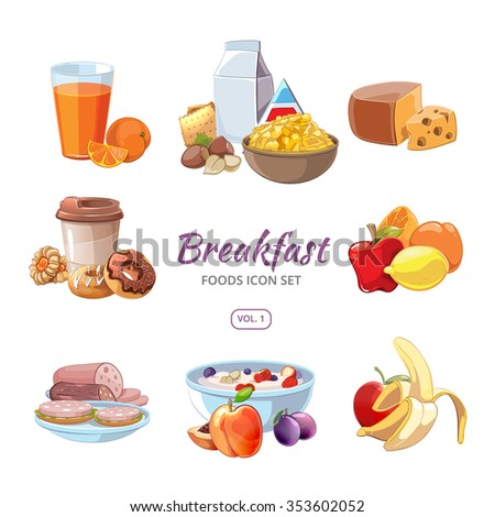 Breakfast food icons in cartoon style. Lunch coffee, orange and morning nutrition, delicious fruit fresh, vector illustration - stock vector
