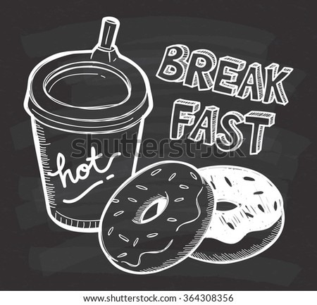Breakfast food in doodle style on chalkboard background - stock vector