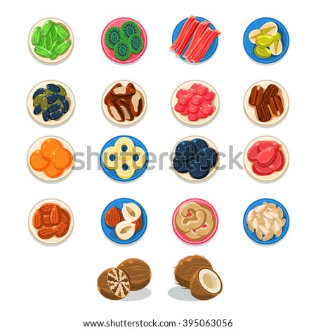 Breakfast Food Sample Plates Collection Simplified Flat Vector Design Icons On White Background