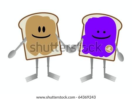 Breakfast foods Characters - stock vector