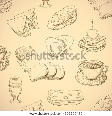 breakfast hand drawn food set vector - stock vector