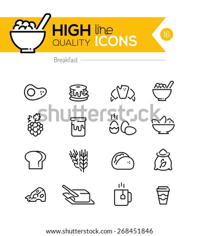 Breakfast Icons line series including: pancake, cereal, butter etc.. - stock vector