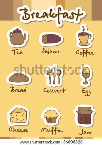 Breakfast Icons. Menu. Vector Template. For more images VISIT MY GALLERY. - stock vector