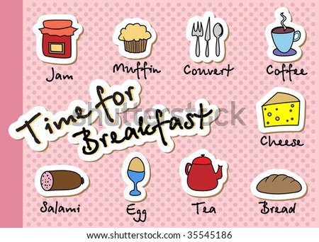 Breakfast icons. Vector Template. - stock vector