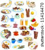 Breakfast Items in different styles vector illustration - stock vector