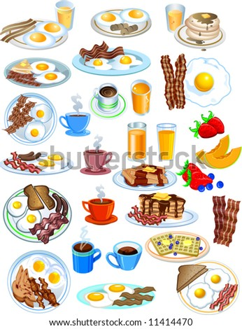 Breakfast Items in different styles vector illustration - stock vector