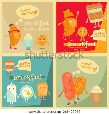 Breakfast Menu Cartoon Set - Funny Food. Vector Illustration. - stock vector
