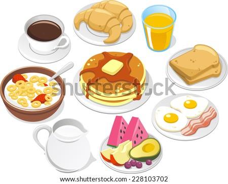 Breakfast Menu, Vector illustration cartoon. - stock vector