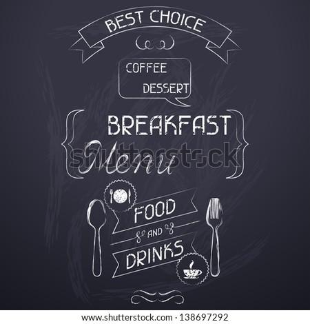 Breakfast on the restaurant menu chalkboard. - stock vector