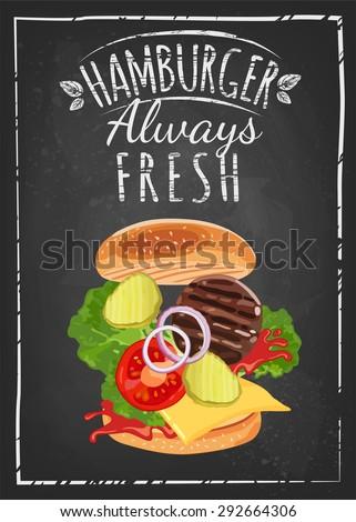 Breakfast Poster drawing with chalk on blackboard. Hamburger always fresh. Vector illustration. - stock vector