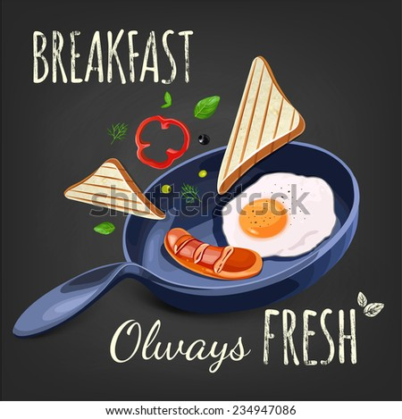 Breakfast Poster. Fried eggs and sausage on pan. Vector illustration. Breakfast olways fresh. - stock vector