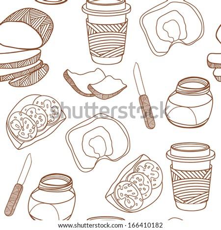 Breakfast seamless background - stock vector