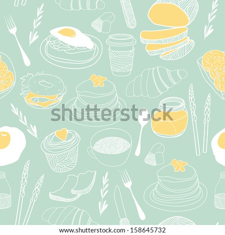 Breakfast seamless pattern. Hand drawn vector theme for backgrounds, fabric, kitchen and cafe stuff - stock vector