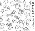 Breakfast seamless pattern in doodle style - stock vector