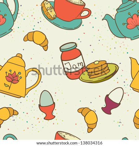 Breakfast seamless pattern with tea pots, pancakes, jam, eggs, croissants and coffee. Hand drawn vector illustration.