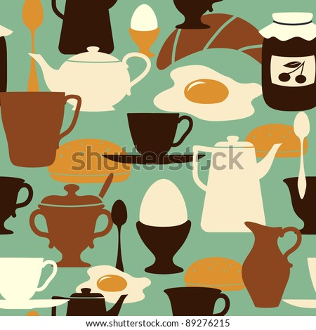 Breakfast seamless pattern with traditional food and drinks. - stock vector