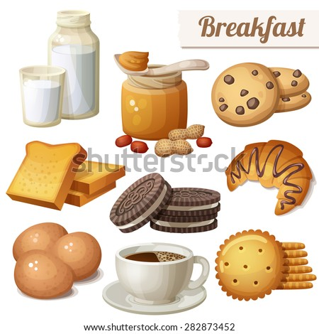 Breakfast 3. Set of cartoon vector food icons isolated on white background. Milk, peanut butter, choc chip cookies, toasted bread, chocolate cookies, croissant, eggs, coffee, crackers - stock vector