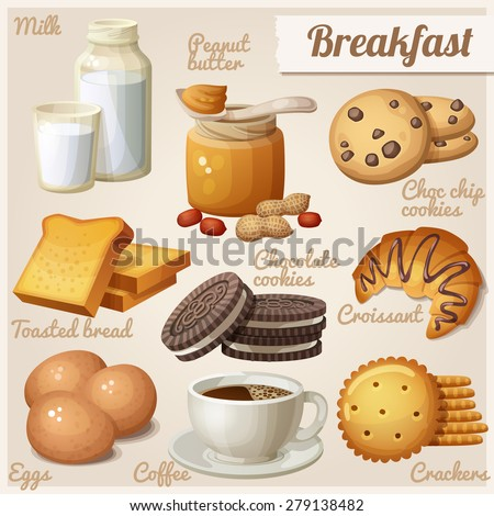 Breakfast 3. Set of cartoon vector food icons. Milk, peanut butter, choc chip cookies, toasted bread, chocolate cookies, croissant, eggs, coffee, crackers - stock vector