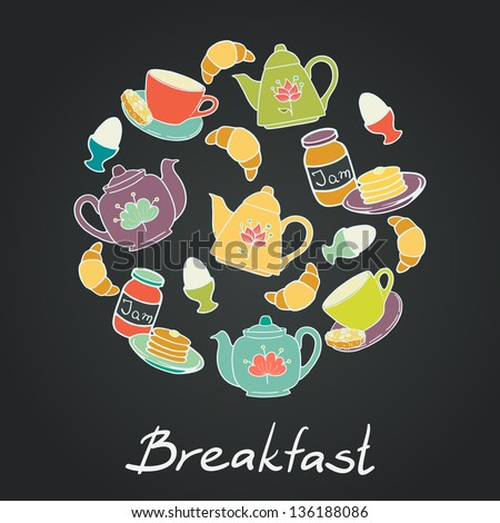 Breakfast set with coffee cup, croissant, boiled egg, tea pots, jam and pancakes on chalkboard background. Vector illustration.