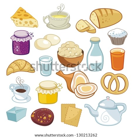 Breakfast set with various food products - stock vector