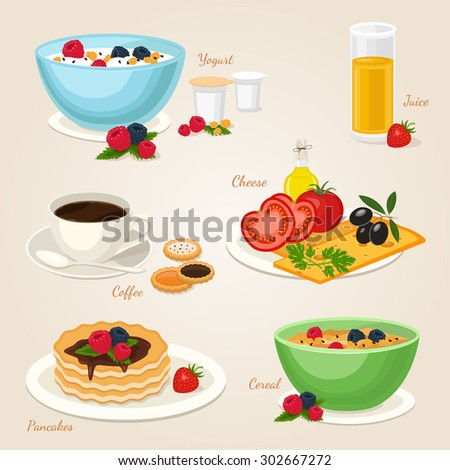 Breakfast set with yogurt cereal fruits coffee cheese vegetables pancakes juice. Food icon isolated vector illustration - stock vector