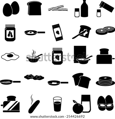 breakfast symbols set - stock vector