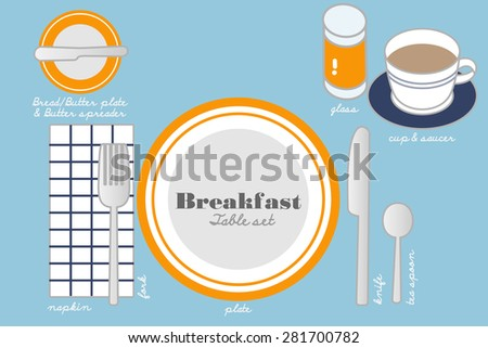 BREAKFAST TABLE SETTING colorful table ware are set for breakfast serving, besides basic table setting, glass for juice, cup&saucer and bread plate with butter spreader are necessary for this meal. - stock vector