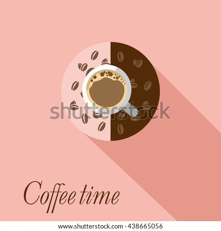 Breakfast time. A croissant with a Cup of coffee. Coffee time concept in flat design. - stock vector