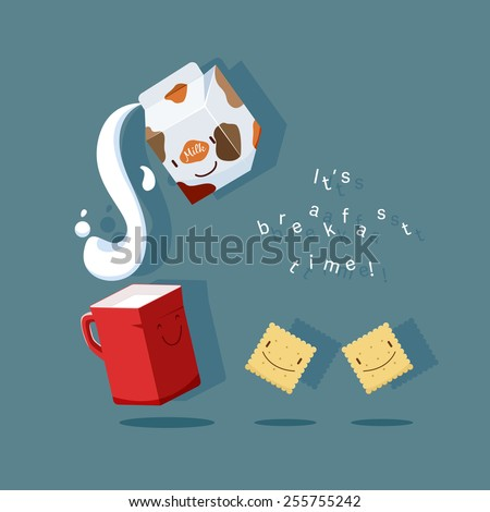 Breakfast time. Vector illustration of milk, cup and cookies in cute cartoon style - stock vector