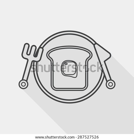breakfast toast flat icon with long shadow, line icon