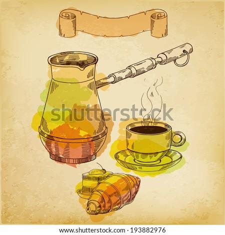 Breakfast,vector hand drawing - stock vector