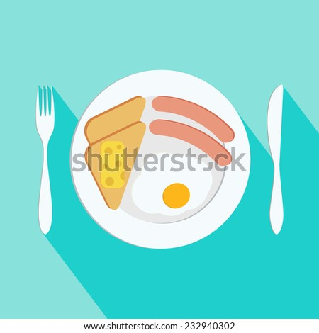 Breakfast vector illustration. Plate with sausage, sandwich and egg. Flat style - stock vector