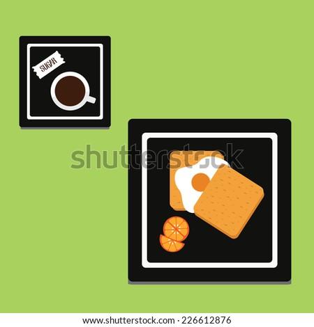 breakfast with coffee, bread, egg. vector illustration - stock vector