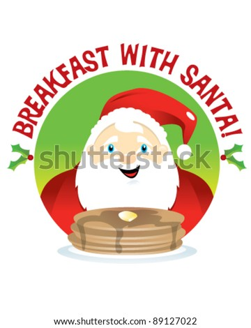 Breakfast with Santa - stock vector