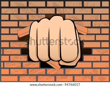breaking  a wall of brick - stock vector