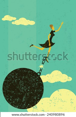 Breaking free from the ball and chain - stock vector
