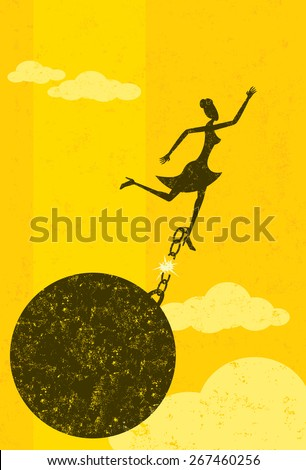 Breaking free from the ball and chain,  A businesswoman escaping from her ball and chain. The woman with ball & chain and the background are on separately labeled layers. - stock vector