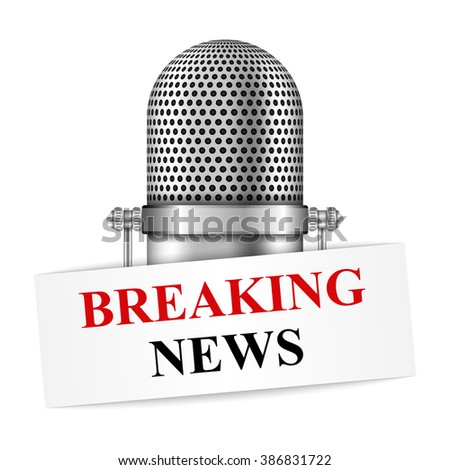 Breaking news banner with microphone, vector eps10 illustration