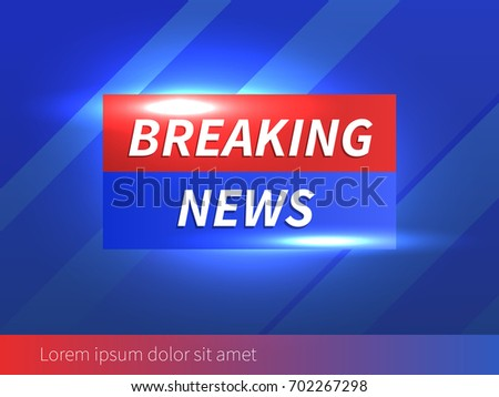 Breaking News Banner with striped blue Background. Vector Business Template. Technology News and more. Vector Illustration.