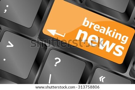 breaking news button on computer keyboard pc key, vector illustration - stock vector