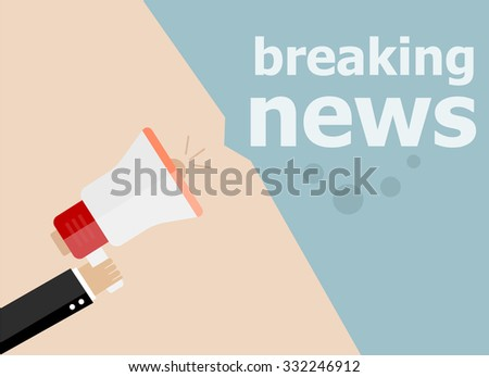 breaking news. Hand holding a megaphone. Vector illustration a flat style - stock vector