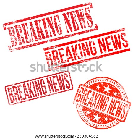Breaking news stamps. Different shape vector rubber stamp illustrations  - stock vector