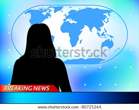 Breaking news tv background with woman reporter - stock vector
