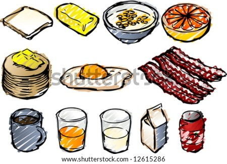 Breaksfast clipart illustrations done in sketchy hand-drawn look - stock vector