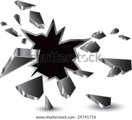 breakthrough hole isolated - stock vector