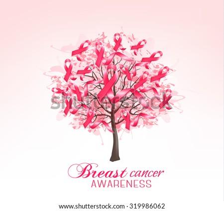 Breast cancer awareness background. Vector.. - stock vector