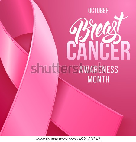 Breast Cancer Awareness Background with Pink Ribbon. October is month of Breast Cancer Awareness in the world. Vector stock illustration.