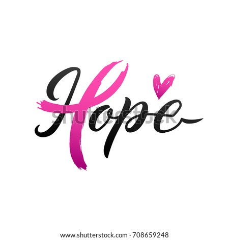 Breast Cancer Awareness Calligraphy Poster Vector 708659248